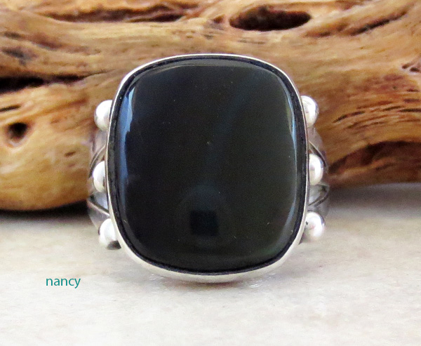 Image 0 of  Black Onyx & Sterling Silver Ring Size 8 Navajo Made - 4219rb