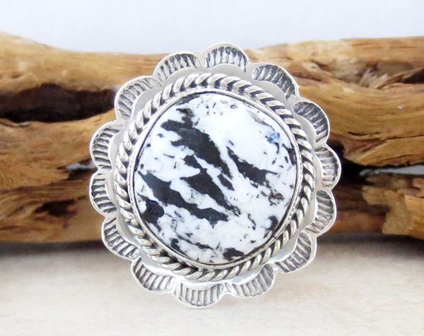 Sacred White Buffalo Stone & Sterling Silver Ring Size 8 - 4130sn