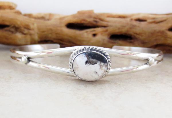 Small Navajo Made White Buffalo & Sterling Silver Bracelet - 4227sn