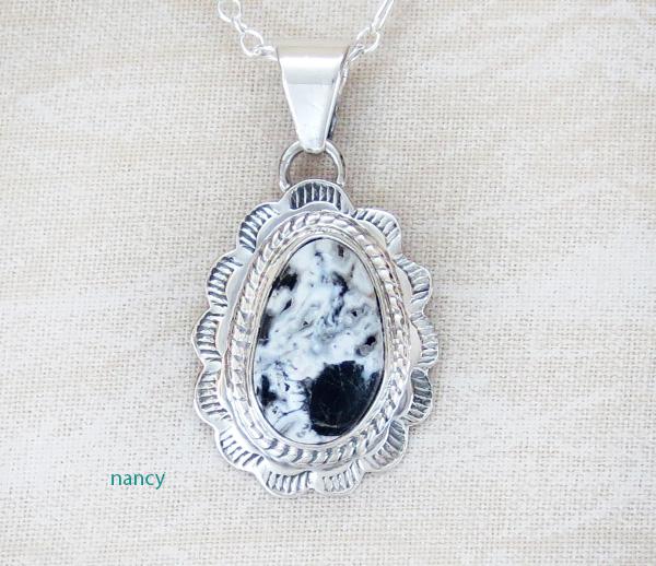 Small White Buffalo Stone & Sterling Silver Pendant - 2006sn