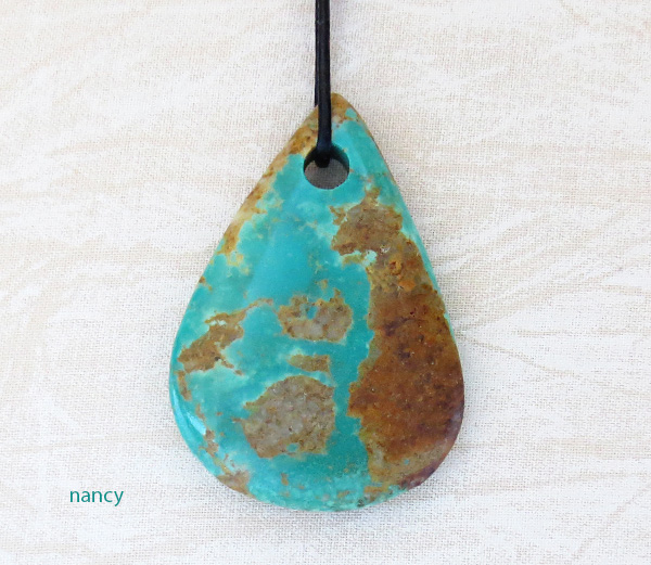Image 0 of     Native American Large Turquoise Pendant With Cord -2005sw