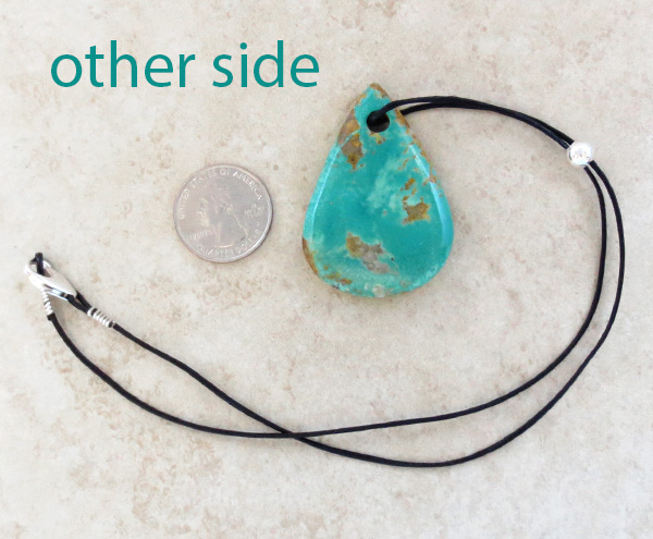 Image 1 of     Native American Large Turquoise Pendant With Cord -2005sw