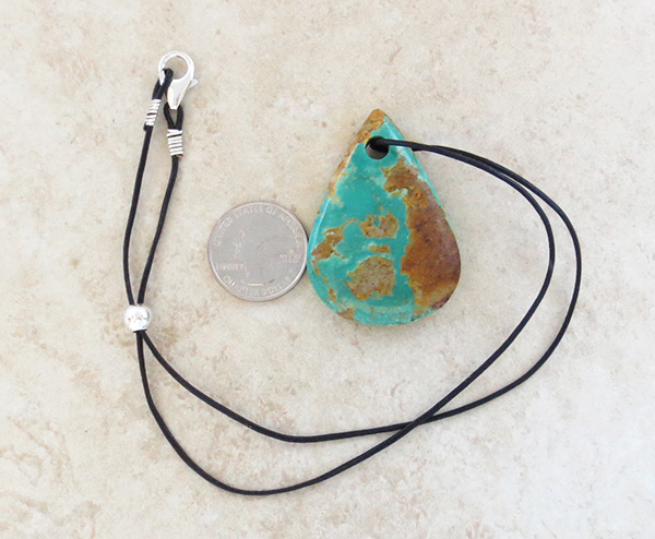 Image 3 of     Native American Large Turquoise Pendant With Cord -2005sw