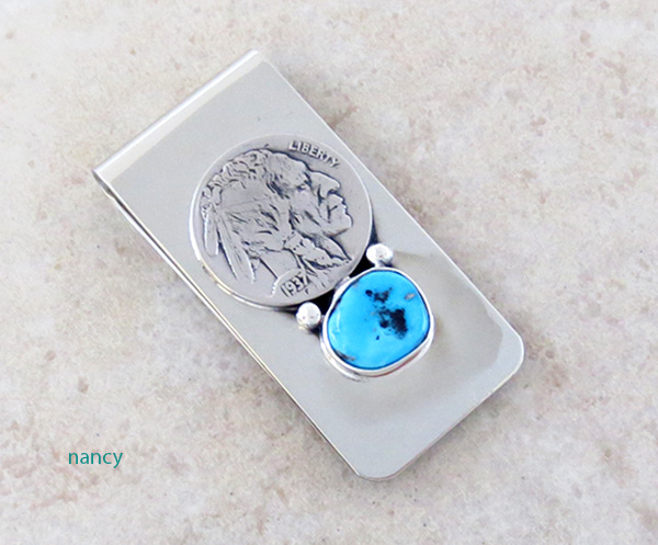 Image 0 of Native American Buffalo Nickel Money Clip With Turquoise - 4347sn