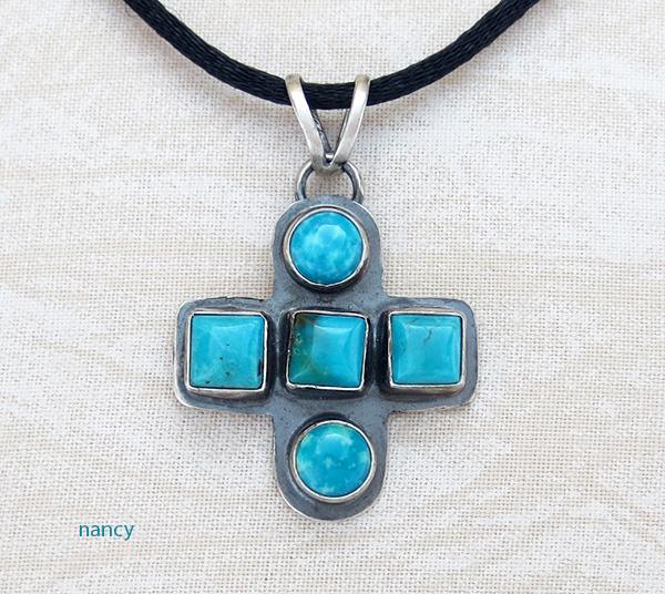 Small Santa Fe Turquoise & Sterling Silver Cross Navajo Made - 3659tag