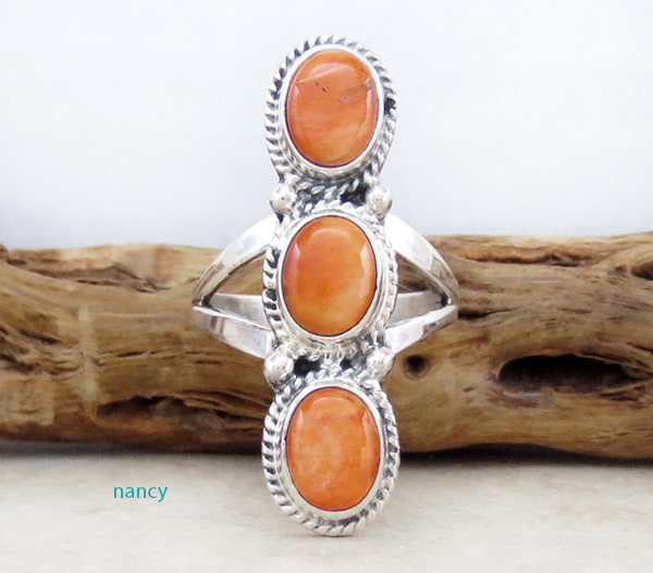 Image 0 of      Orange Spiny Oyster & Sterling Silver Size 8.25 Native American - 4228sn