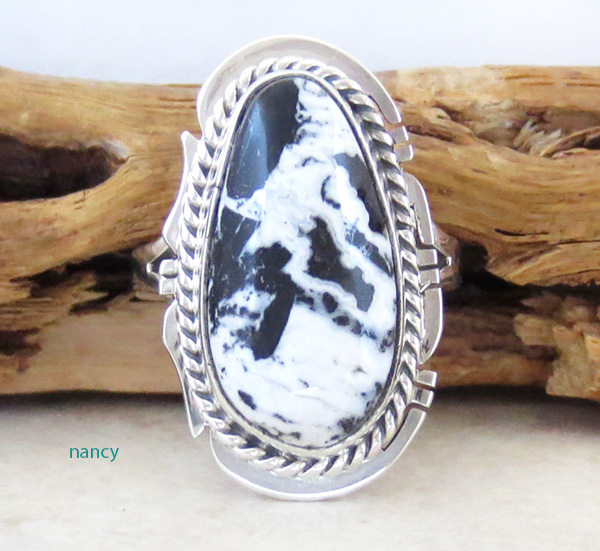 Native American White Buffalo Stone & Sterling Silver Ring Size 6 - 4348sn