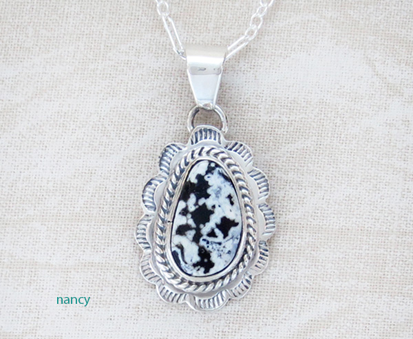 Image 0 of     Small White Buffalo Stone & Sterling Silver Pendant Native American - 3976sn