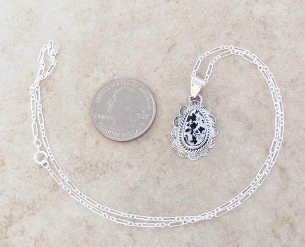 Image 1 of     Small White Buffalo Stone & Sterling Silver Pendant Native American - 3976sn