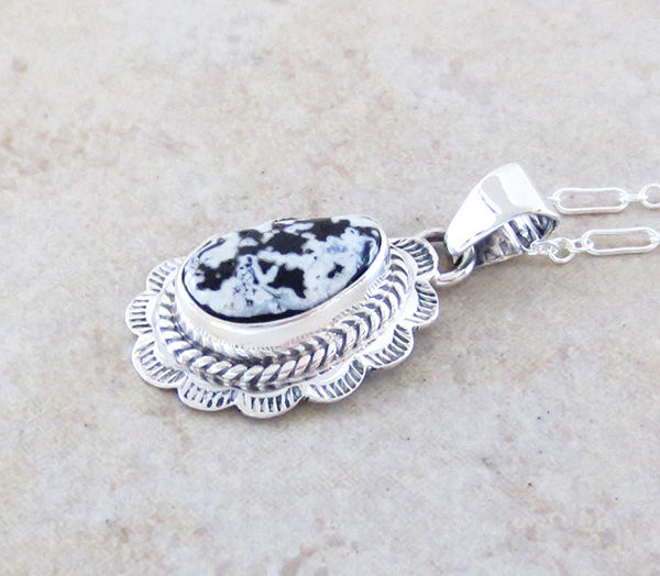 Image 2 of     Small White Buffalo Stone & Sterling Silver Pendant Native American - 3976sn