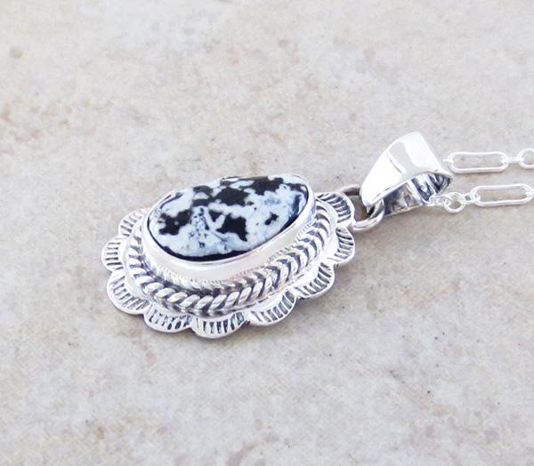 Image 2 of     Small White Buffalo Stone & Sterling Silver Pendant Native American - 3976sn