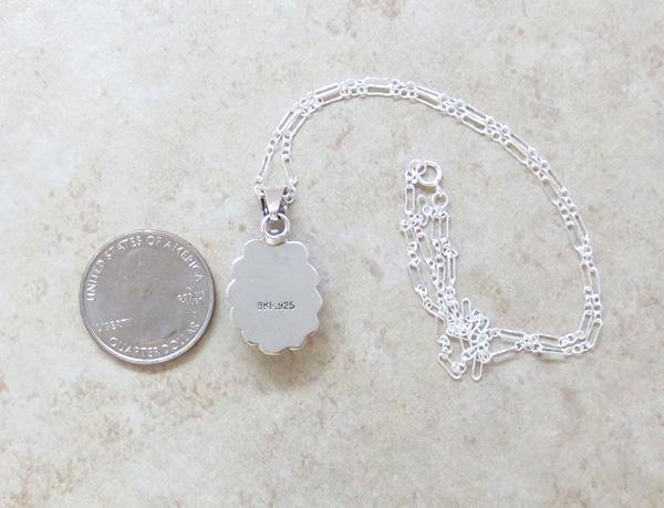 Image 3 of     Small White Buffalo Stone & Sterling Silver Pendant Native American - 3976sn