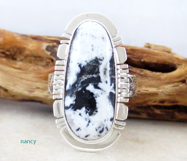 White Buffalo Stone & Sterling Silver Ring Size 9 Native American - 4229sn