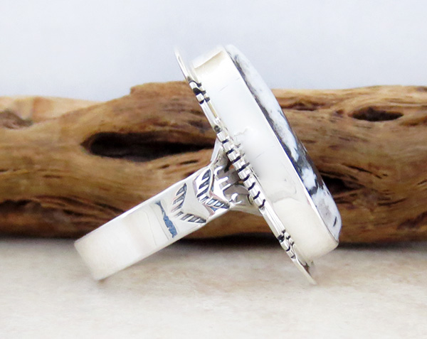 Image 1 of       White Buffalo Stone & Sterling Silver Ring Size 9 Native American - 4229sn