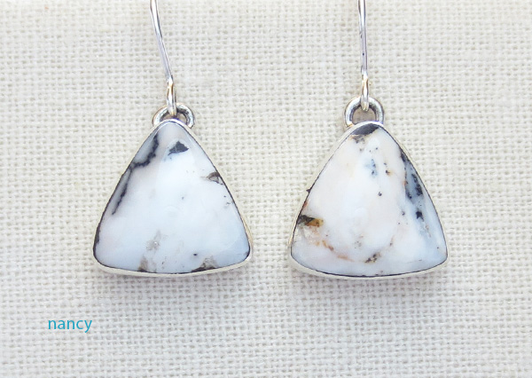 Native American White Buffalo Stone & Sterling Silver Earrings - 4236sn