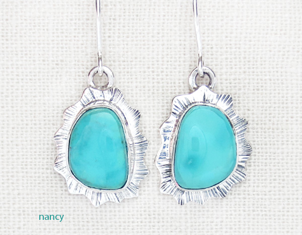 Turquoise & Sterling Silver Earrings Native American Made - 4235sn