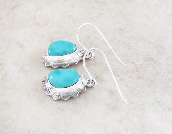 Image 1 of  Turquoise & Sterling Silver Earrings Native American Made - 4235sn