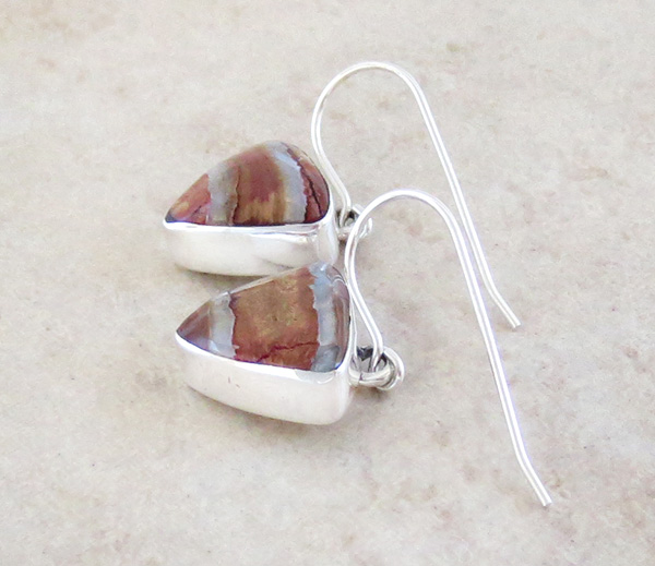 Image 1 of    Ancient Stone & Sterling Silver Earrings Navajo - 4354sn