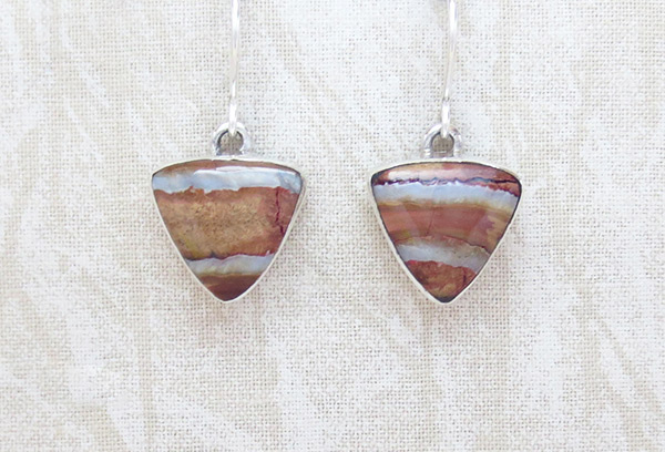 Image 0 of    Ancient Stone & Sterling Silver Earrings Navajo - 4354sn