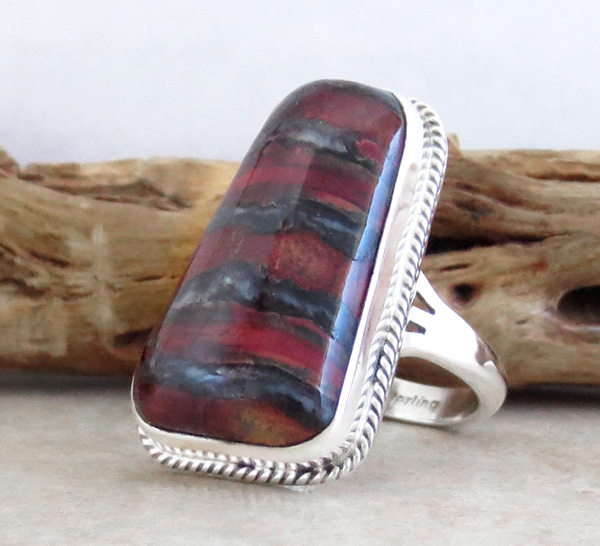 Image 2 of      Navajo Made Ancient Mammoth Tooth & Sterling Silver Ring Size 8 - 4357sn