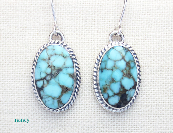 Number 8 Mine Turquoise & Sterling Silver Earrings Navajo Made - 4356sn