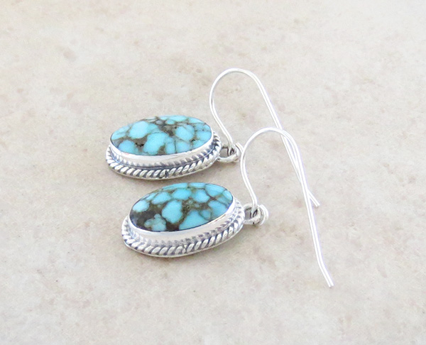 Image 1 of   Number 8 Mine Turquoise & Sterling Silver Earrings Navajo Made - 4356sn
