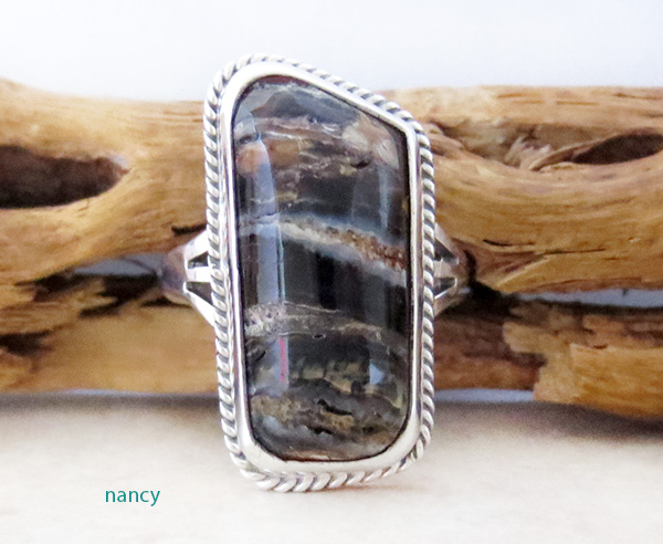 Native American Mammoth Tooth Stone  & Sterling Silver Ring Size 6 - 1705sn