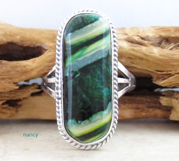 Image 0 of       Native American Mammoth Tooth Stone & Sterling Silver Ring Size 6 - 1744sn