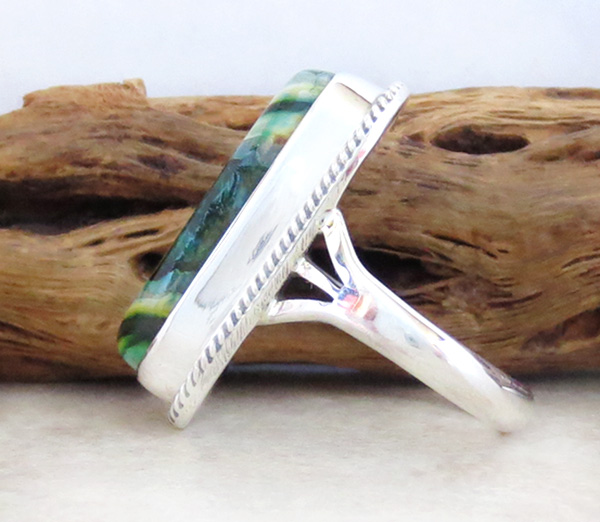 Image 1 of       Native American Mammoth Tooth Stone & Sterling Silver Ring Size 6 - 1744sn