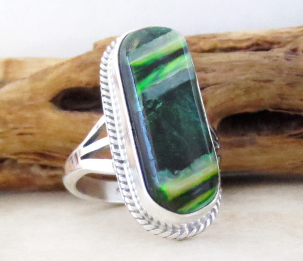 Image 2 of       Native American Mammoth Tooth Stone & Sterling Silver Ring Size 6 - 1744sn
