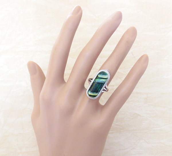 Image 4 of       Native American Mammoth Tooth Stone & Sterling Silver Ring Size 6 - 1744sn