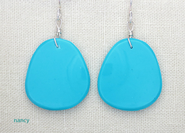 Image 0 of     Native American Made Turquoise Slab Earrings - 4358pl