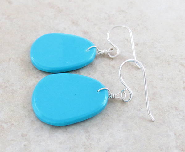 Image 1 of     Native American Made Turquoise Slab Earrings - 4358pl