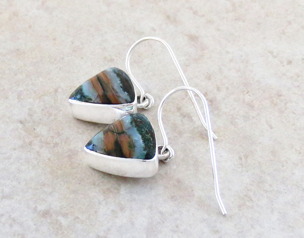 Image 1 of Ancient Mammoth Tooth & Sterling Silver Earrings Native American - 1827sn