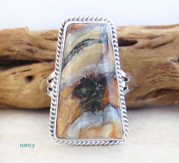 Ancient Mammoth Tooth Stone & Sterling Silver Ring Size 8 Navajo - 3984sn