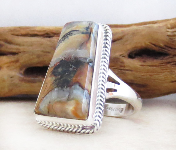 Image 2 of      Ancient Mammoth Tooth Stone & Sterling Silver Ring Size 8 Navajo - 3984sn