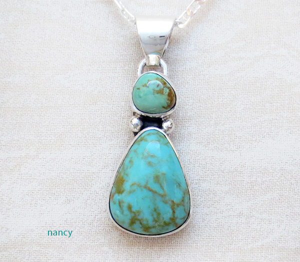 Native American Turquoise & Sterling Silver Pendant With Chain - 4932sn