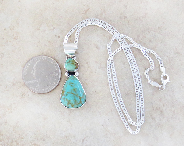 Image 1 of  Native American Turquoise & Sterling Silver Pendant With Chain - 4932sn
