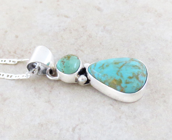 Image 2 of  Native American Turquoise & Sterling Silver Pendant With Chain - 4932sn