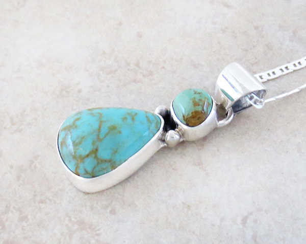 Image 3 of  Native American Turquoise & Sterling Silver Pendant With Chain - 4932sn