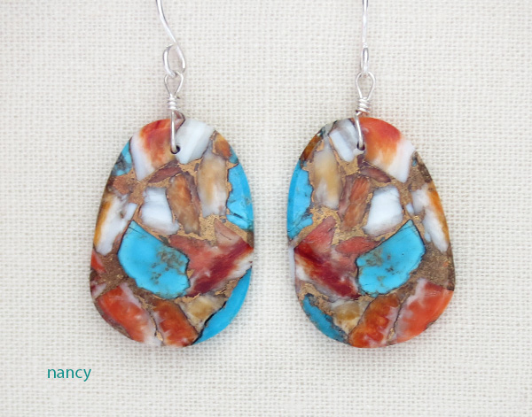 Mosaic Turquoise & Spiny Oyster Slab Earrings Native American Made - 4359pl