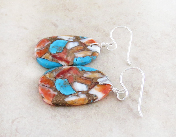 Image 1 of Mosaic Turquoise & Spiny Oyster Slab Earrings Native American Made - 4359pl