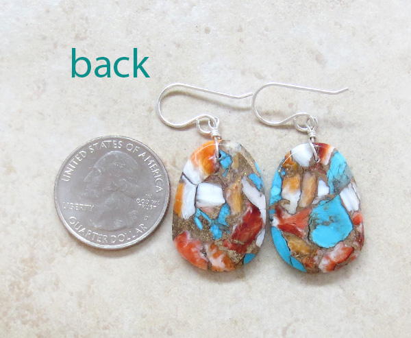 Image 2 of Mosaic Turquoise & Spiny Oyster Slab Earrings Native American Made - 4359pl