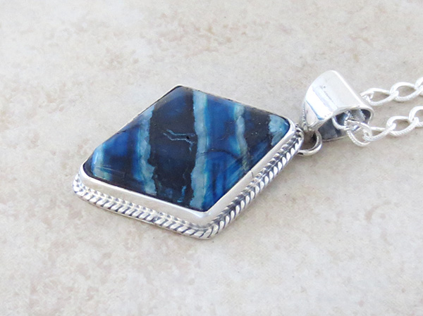 Image 3 of Mammoth Tooth Stone & Sterling Silver Pendant Navajo Made - 4135sn