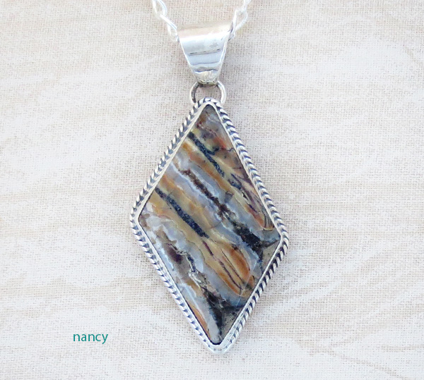 Image 0 of Native American Mammoth Tooth Stone & Sterling Silver Pendant - 3687sn