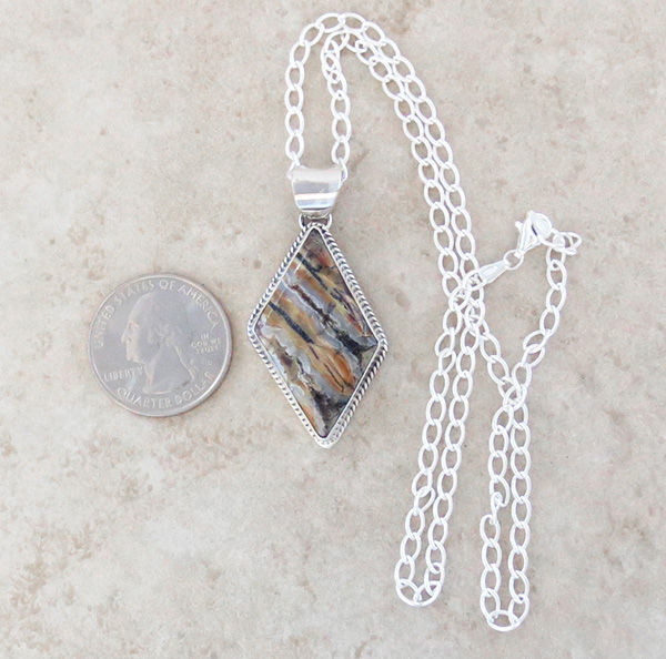 Image 1 of Native American Mammoth Tooth Stone & Sterling Silver Pendant - 3687sn
