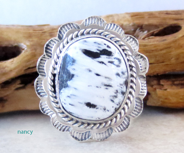 Native American White Buffalo Stone & Sterling Silver Ring Size 9 - 4362sn