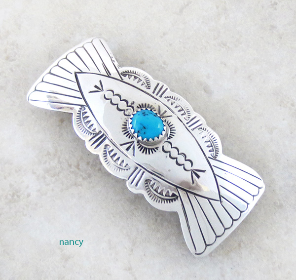 Native American Handcrafted Sterling Silver Turquoise Barrette - 4132rb