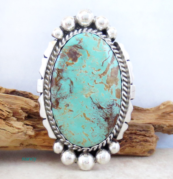 Image 0 of Native American Large Turquoise & Sterling Silver Ring Size 8 - 4361dt