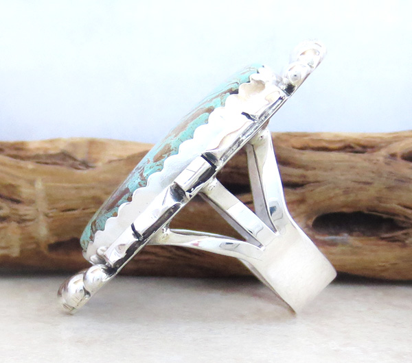 Image 1 of Native American Large Turquoise & Sterling Silver Ring Size 8 - 4361dt